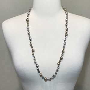 Lucky Brand Gold Silver Beveled Beaded Necklace